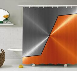 Ambesonne Orange and Grey Shower Curtain, 3D Style Machinery