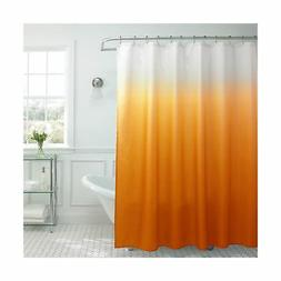 Orange Vinyl Fabric Shower Curtain Screen Sheet Rod Rings Ba