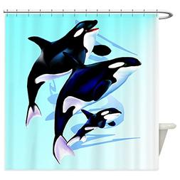CafePress Orca Family Decorative Fabric Shower Curtain