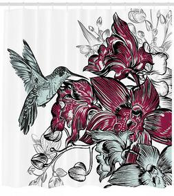 Orchid Flowers Bouquet and a Hummingbird Floral Decorative S