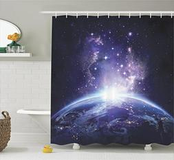 Ambesonne Outer Space Decor Collection, Earth Night View fro