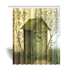 Outhouse Wooden House Bathroom Accessories Shower Curtain Ba