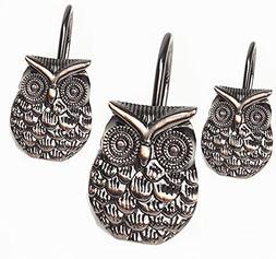 Love Creative Owl Bronze Shower Curtain Hooks Rings hooks Ea
