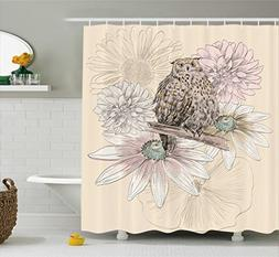 Ambesonne Owl Decor Shower Curtain by, Sketch Animal on Bran