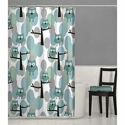 owl fabric shower curtain 70x72 blue