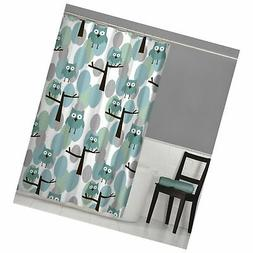 MAYTEX Owl Fabric Shower Curtain, Teal Multi, 70 inches x 72