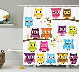 Ambesonne Owls Home Decor Collection, Owls on Branches Night