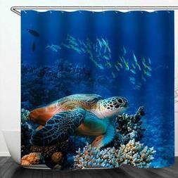 painting turtle shower curtain art decor set