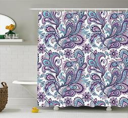 Ambesonne Paisley Shower Curtain Set, Blue and Purple Large
