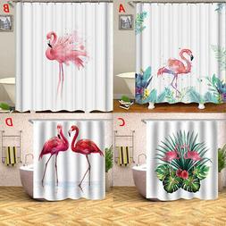 Palm Tree and Flamingo Shower Curtain Set with Hooks Bathroo