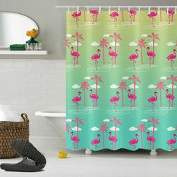 Palm Tree and Flamingo Shower Curtain Set with Hooks Bathroo