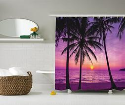Ambesonne Palm Tree Shower Curtain Ocean Decor by, Palm Tree