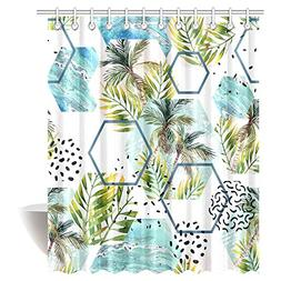InterestPrint Palm Trees Shower Curtain, Watercolor Summer T