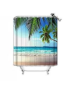 Palms Ocean Tropical Beach Theme Shower Curtain,36x78inch