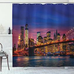 Panorama Shower Curtain NYC with Neon Print for Bathroom