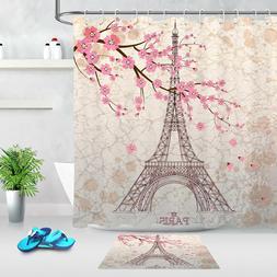 Paris Eiffel Tower Pink Sakura Fabric Shower Curtain Set Bat