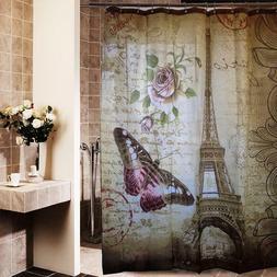 Paris Eiffel Tower Pink Sakura Fabric Shower Curtain Bathroo