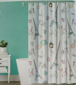Splash Home PARIS LOVE Fabric Shower Curtain 70x72 new