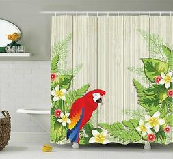 Ambesonne Parrot Shower Curtain, Tropic Flowers and African