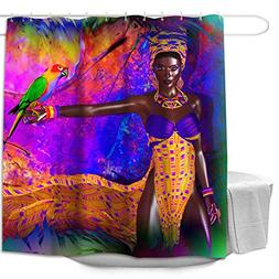Colorful Star Parrots and Women Design Shower Curtain,Waterp