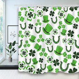 St. Patrick's Bath Curtains, Lucky Shamrocks Celtic Irish Cl