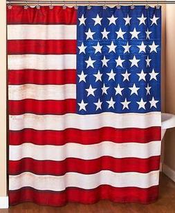 """PATRIOTIC AMERICAN FLAG 70""""W x 72""""L BATHROOM SHOWER CURTAIN"""