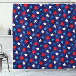 Patriotic Shower Curtain American Flag Stars Print for Bathr