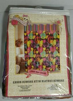Peace Love Shower Curtain w/Hooks Hippie Groovy Hawn Hendrix