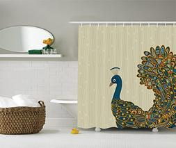 Ambesonne Peacock Decor Collection, Oriental Background and