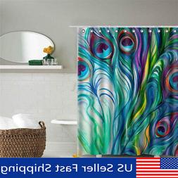 Peacock Feather Waterproof Polyester Fabric Shower Curtain B