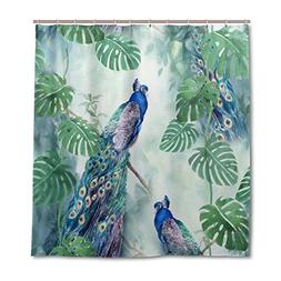 ALAZA Peacock Watercolor Shower Curtain 72 x 72 Inch, Mildew