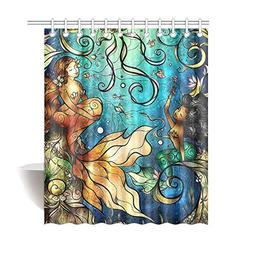 Personalized Funny Beautiful Mermaid Shower Curtain, Shower