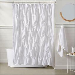 AmazonBasics Pinch Pleat Shower Curtain - 72 Inch, Bright Wh
