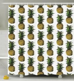 Ambesonne Pineapple Decor Collection, Pineapple Shower Curta