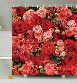 Pink & Red Roses SHOWER CURTAIN 70x70 Fabric w/Hooks Flower