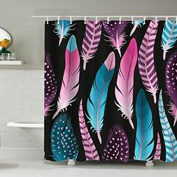 Alicemall Pink and Blue Feather Prints Colorful Black Shower