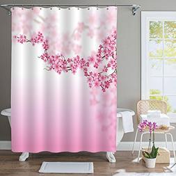MitoVilla Pink Cherry Blossom Decorative Shower Curtain, Flo