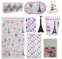 Pink Paris Bathroom Accessories Eiffel Tower Shower Curtain