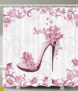 Ambesonne Pink and Purple Women Shoes with Roses and Hearts