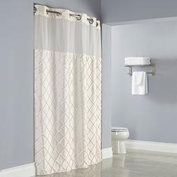 Hookless Pintuck PEVA Lined Shower Curtain - Beige with Chro