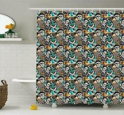 Pirates Shower Curtain Fabric Bathroom Decor Set with Hooks