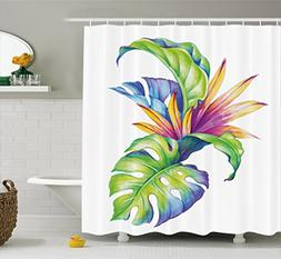 Ambesonne Plant Shower Curtain, Tropical Leaves and Monstera