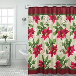 Creative Home Ideas Poinsettia Textured Shower Curtain, 70 x