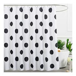 Polka Dot Washable Fabric Shower Curtain Black and White 72