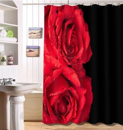 Polyester Fabric Shower Curtain Liner Red Rose Flower Black
