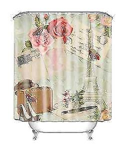 Polyester Printed Retro Paris Style Shower Curtain & Hangers