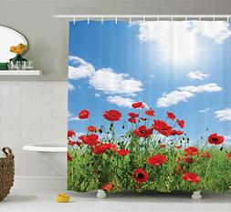 Ambesonne Poppy Decor Collection, Red Poppies on Green Field