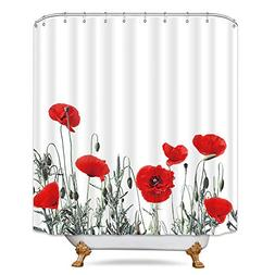 Riyidecor Poppy Shower Curtain Red Floral Buds Watercolor Fl