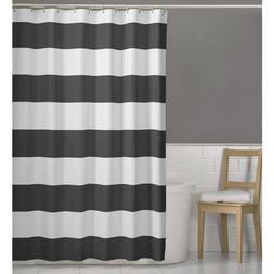 Maytex Porter Nautical Striped Fabric Shower Curtain, Grey,
