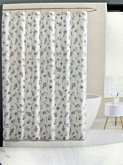 Tahari Home Printed Shower Curtain 72x72 Cream And Teal New